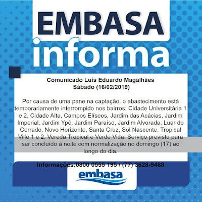 Luís Eduardo Magalhães: Pane na captação interrompe  abastecimento neste sábado (16)