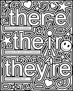 there, their, they're coloring page- available in jpg and transparent png #school #grammar