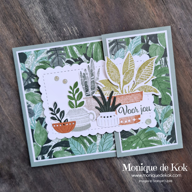 Funfold kaart, Plentiful Plants, Plantenpost, Stampin Up, cadeaukaart, zelfgemaakt, stampinmetmonique