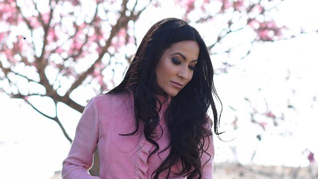 spring pink ruffle corduroy sweater