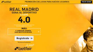 betfair supercuota 4 Real Madrid gana Deportivo Liga 10 diciembre