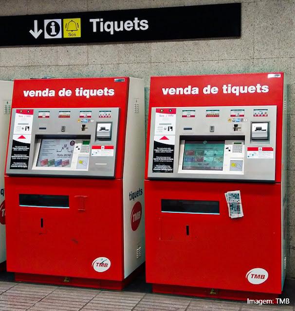 Máquinas para a compra de bilhetes de metrô em Barcelona