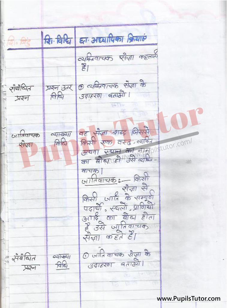 Sangya Sarvanam Ke Bhed Evam Prakar par Lesson Plan in Hindi for BEd and DELED