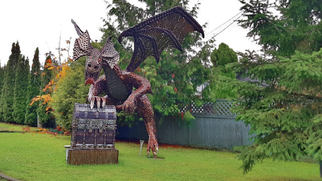 An imposing dragon sculpture in Saanich...