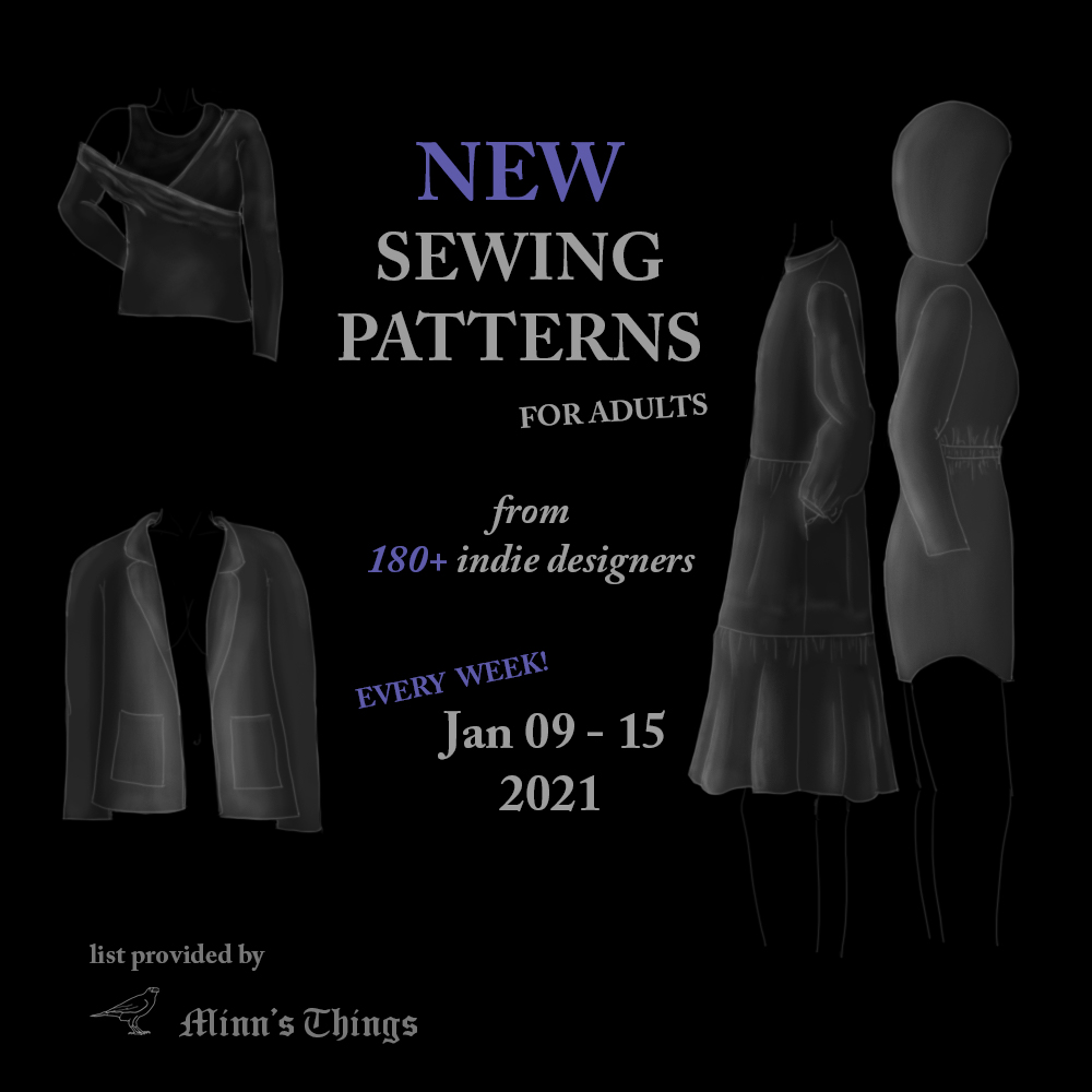 list new sewing pattern releases january 2021 small indie designers companies adult