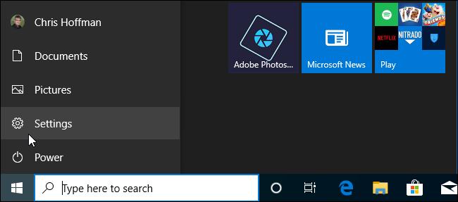 ابدأ شريط التنقل في القائمة في نظام التشغيل Windows 10 19H2.