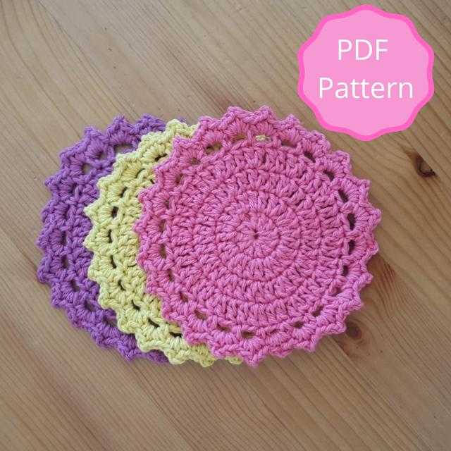 Easy crochet coasters pattern