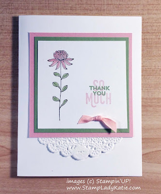Card features a flower from Stampin'UP!'s Flowering Fields stamp set colored with the Wink of Stella Pen
