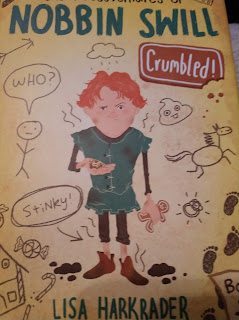 "cover art showing a boy with red hair and a green tunic and the words ""Nobbin Swill"" and ""Crumbled by Lisa Harkrader"""