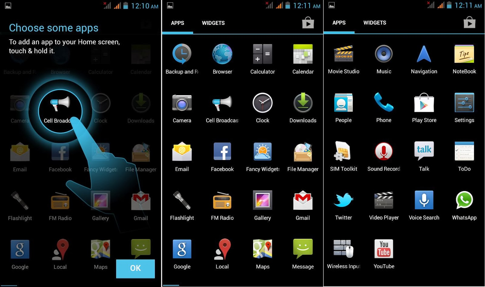 DTC Mobile GT15 Astroid Fiesta Default Apps