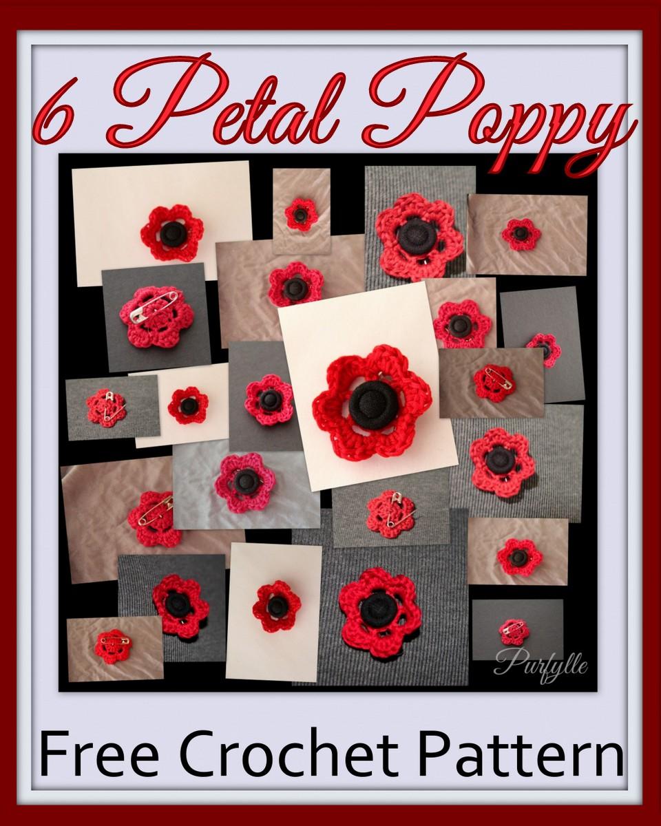 Free Crochet Pattern 6 Petal Poppy