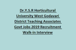 Dr.Y.S.R Horticultural University West Godavari District Teaching Associates Govt Jobs 2019 Recruitment Walk-in Interview
