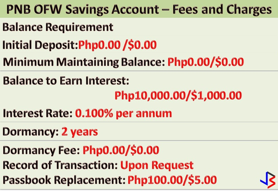 Saving money is easy if we are dedicated and motivated. Especially for Overseas Filipino Workers (OFWs) that are earning big while working abroad. For us to be inspired to save money, not just for our family but also for ourselves, it is important that we have a clear goal.  For OFWs, we must save while we can. Eventually, with that money, we can invest in something that will bring us return in the future. We can start a small business that will turn into a sustainable livelihood in case we decide to go back home for good.  If you are looking for a bank where to save your money, the Philippine National Bank (PNB) has something to offer not just for OFWs but also to their dependents or families through OFW Savings Account. The OFW Savings Account comes with special ATM card for OFW beneficiaries that is accessible nationwide.  This savings account for OFWs and their families comes with zero opening and maintaining balance. It will also earn interest on balances of P10,000 or $500 and up.  If you are interested, the following are the requirements for opening an account;  Acceptable identification cards (ID's) to be presented upon opening of the account may be one of the following:  Passport Original employment contract (duly notarized and approved by POEA ) will be accepted together with at least a photocopy of passport Drivers License Professional (PRC) license SSS/GSIS membership cards OFW ID (issued by POEA/OWWA) NBI/Police clearance  In addition to the above, documents without picture such as Marriage contract, BIR TIN, and Credit cards should always be accompanied by a photographed ID. 2 ID pictures (1X1 or 2X2)