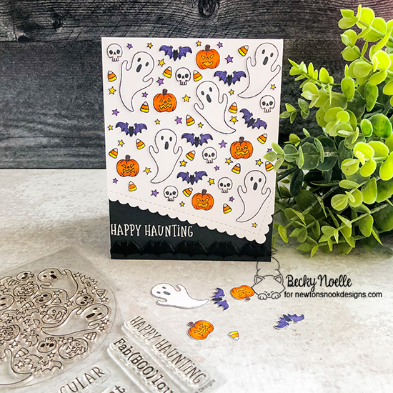 Happy Haunting by Becky features Spooky Roundabout and Frames & Flags by Newton's Nook Designs; #newtonsnook