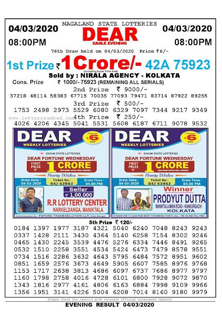 Lottery Sambad 04.03.2020 Nagaland Lottery Result 8 PM