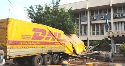 dhl truck crashed cbn building