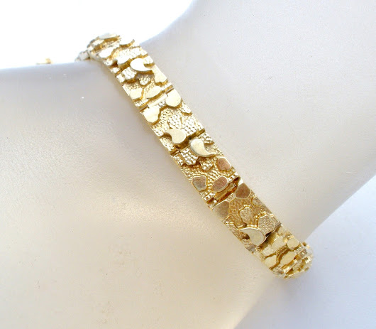 Vintage 14K Gold Diamond Cut Nugget Bracelet 7.25""