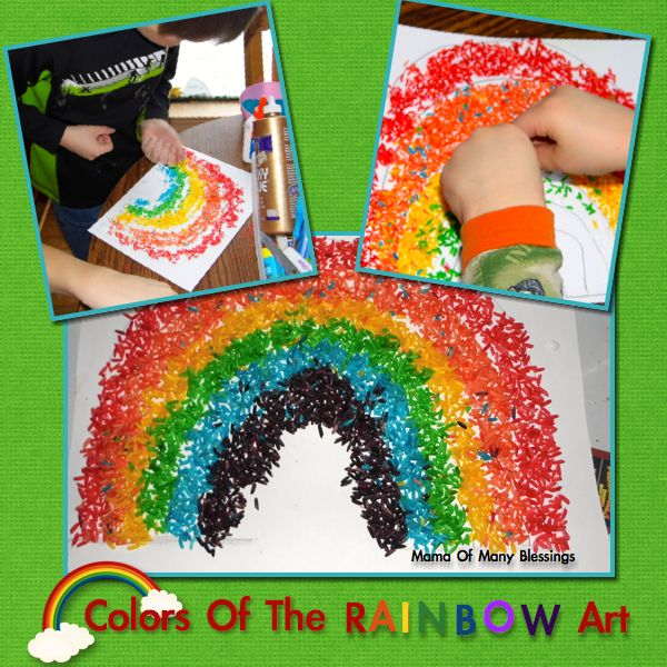 This easy rainbow craft doubles as a sensory activity as your child uses colored rice to make a beautiful rainbow.