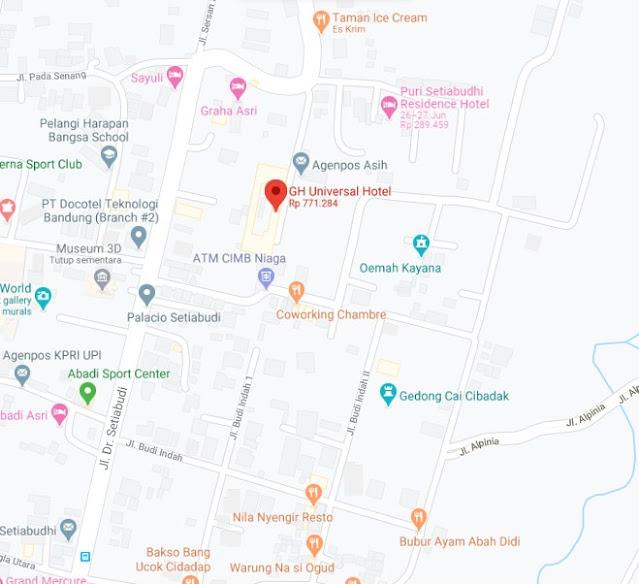 Map Letak Hotel Green Hill Universal Bandung