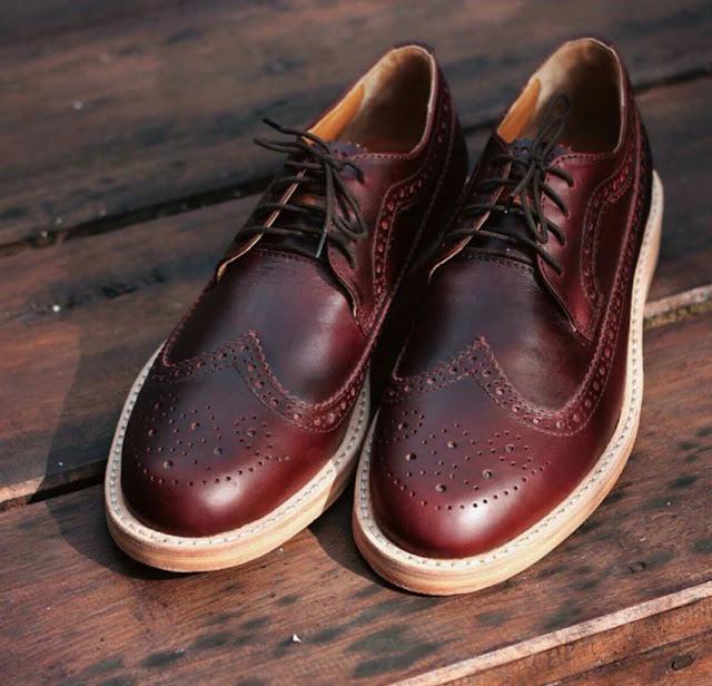 Model Sepatu Kulit Nappa Milano Blake Brogues Pria kekinian