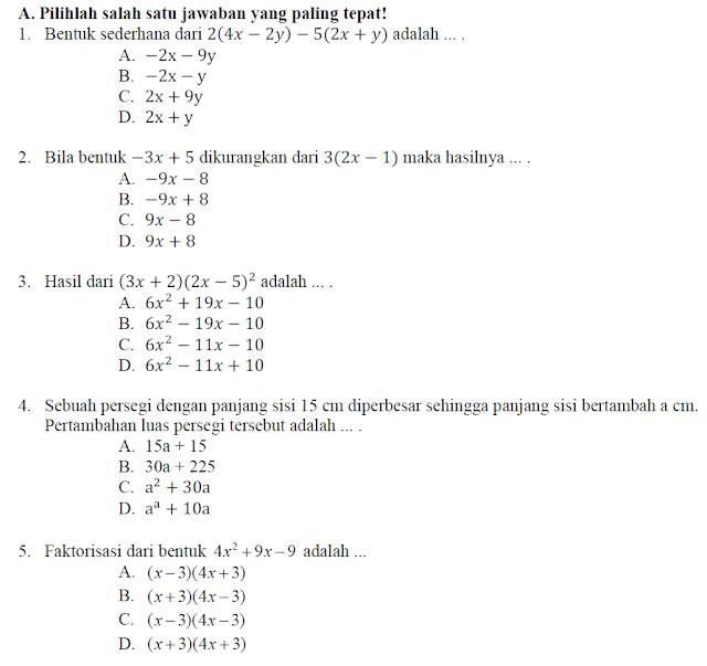 Soal UTS Matematika Kelas 8 Semester 1 dan Kunci Jawaban