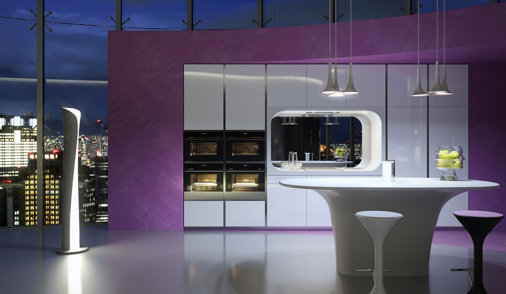 modern kitchens designs by karim rashid that you have never seenkitchen that has pal walls gray color with golden cabinets and basin with a brown wooden table and two small size white chairs, and a large white walled