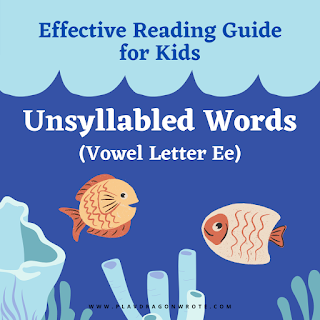 yellow and orange fishes with corals - Example of unsyllabled words with the small vowel letter e