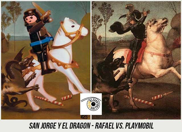 Cuadro-San-Jorge-y-el-Dragon-de-Rafael-Hecho-con-Playmobil