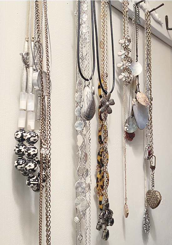hanging jewelry in a closet