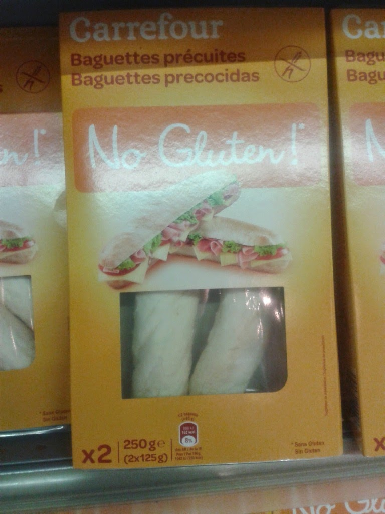 Carrefour own brand 'No Gluten!' baguettes. Sin Gluten (aka Gluten Free) food from Spain