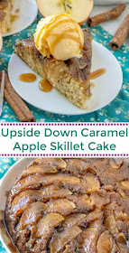A slice of warm delicious down home caramel apple upside down skillet cake is sure to bring a smile to your face. Add a scoop of ice cream to this spiced cake for an extra special fall treat.