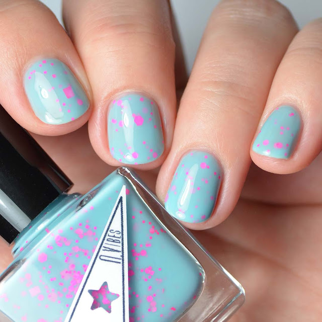 turquoise nail polish with hot pink glitter