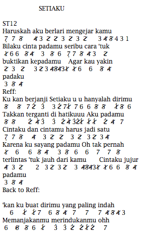 Not Angka Pianika Lagu ST12 Setiaku