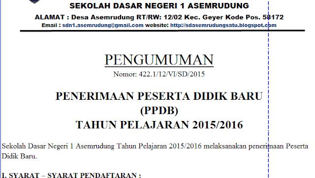 Contoh Format SK Kepanitiaan PPDB Tahun Pelajaran 2016-2017