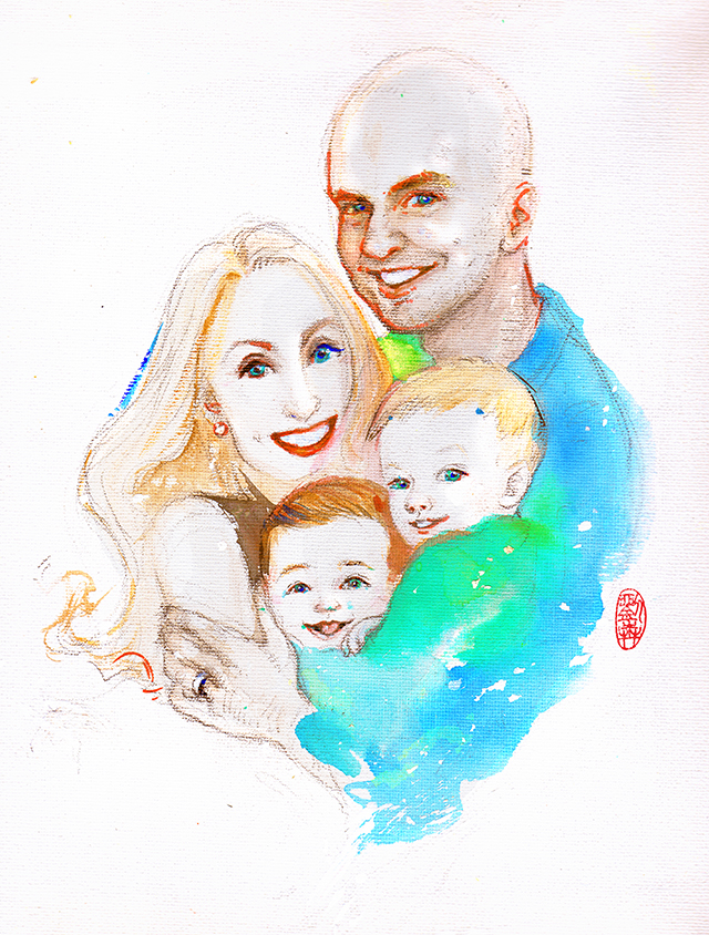 Custom Portrait, family fashion illustration art, Parents hug babies, happy vibes children, boy and girl with mom and dad. happiness, couple love,