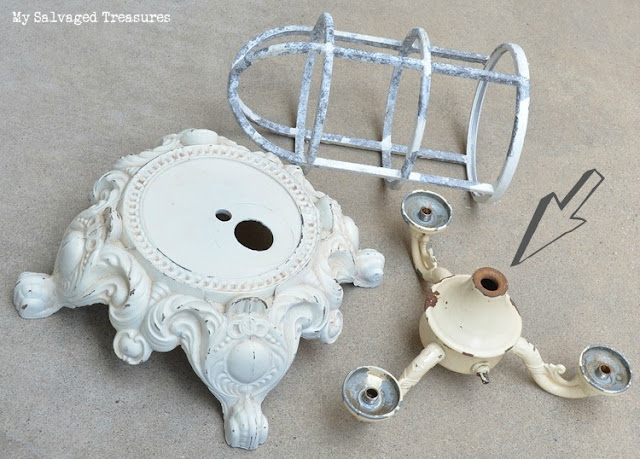 vintage lamp parts repurposed