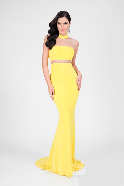 two piece yellow prom dress