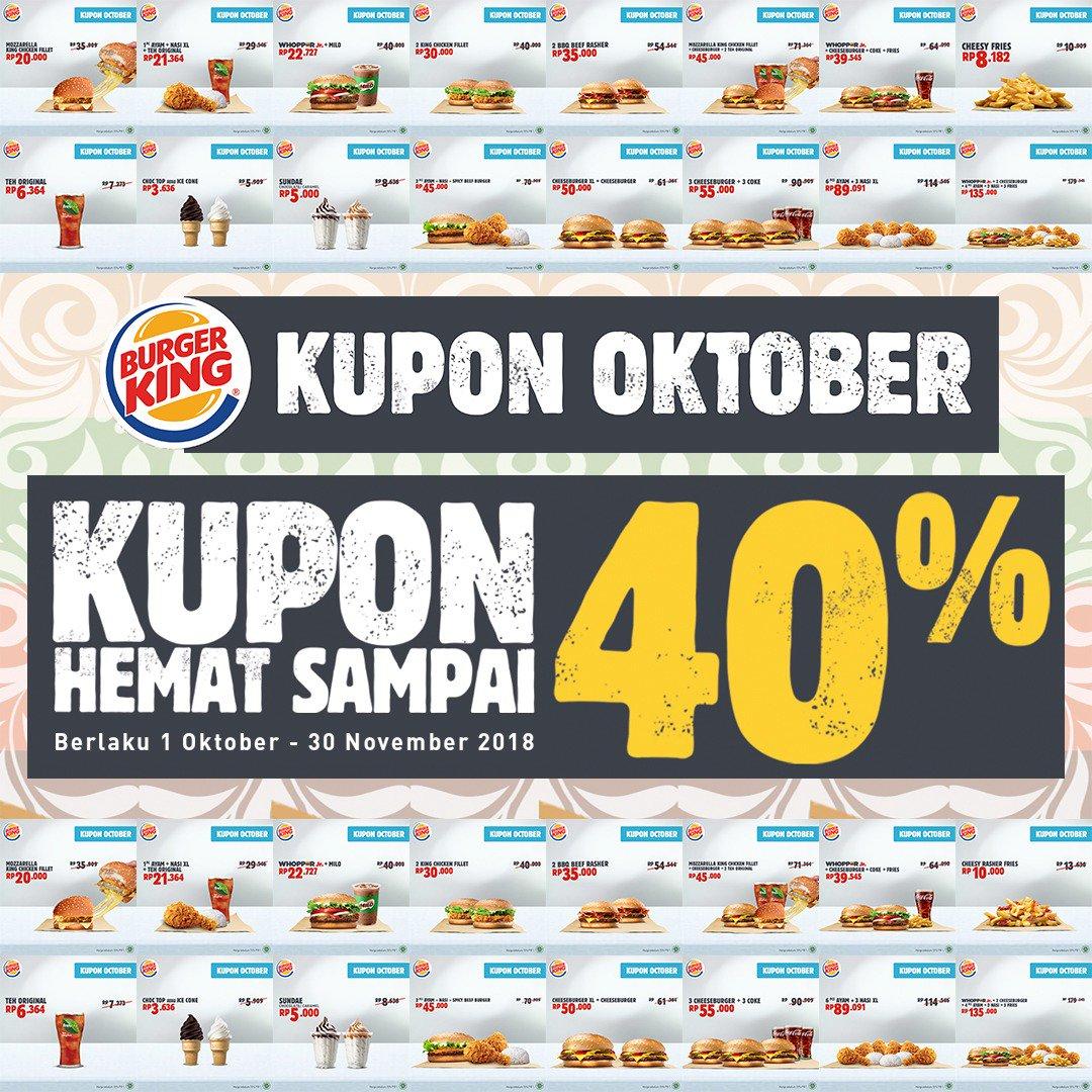 BurgerKing - Promo Kupon Oktober Hemat s.d 40% (s.d 30 Okt 2018)