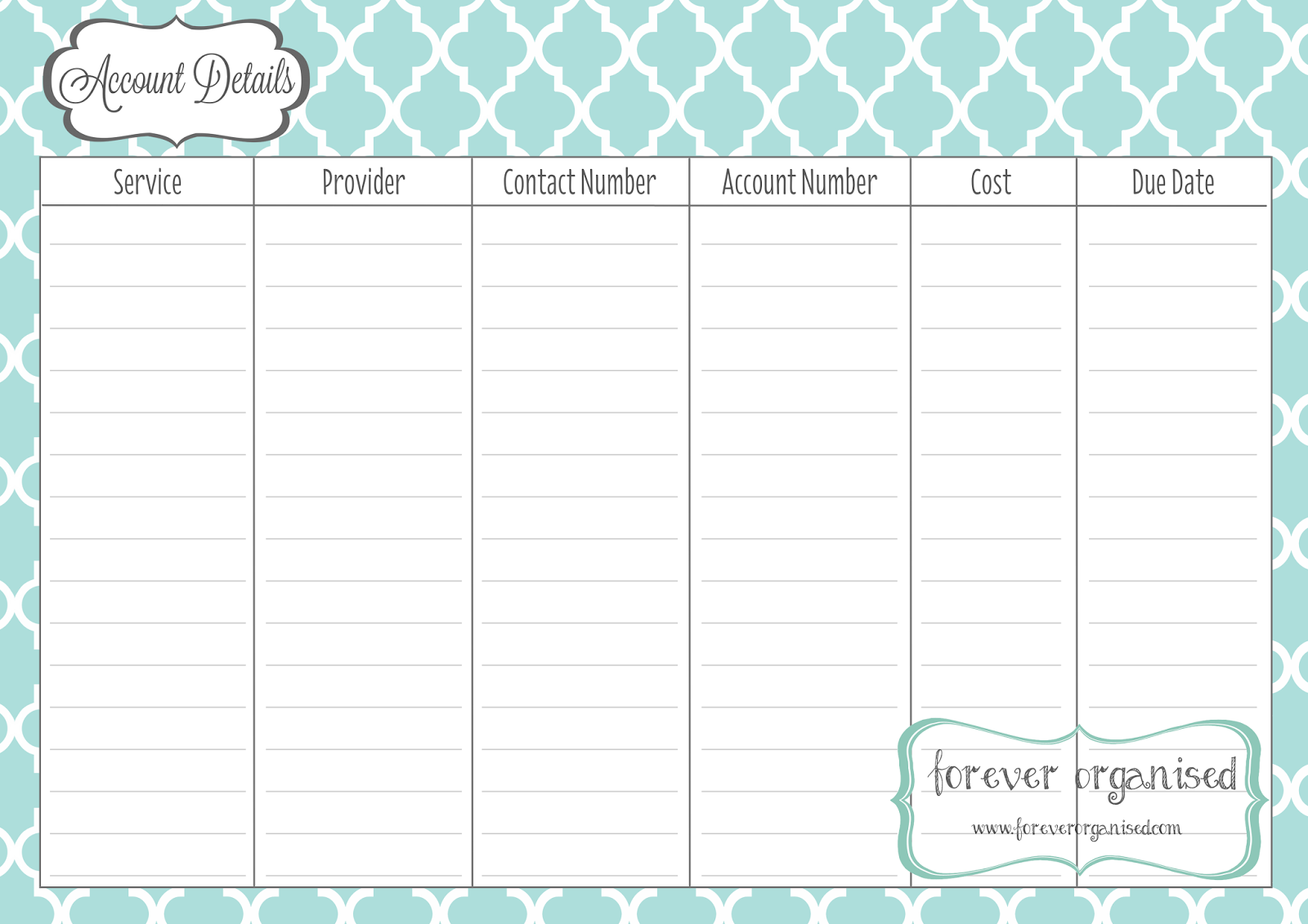 Monthly Bill Due Date Template | Playboy Playmates – My Private ...