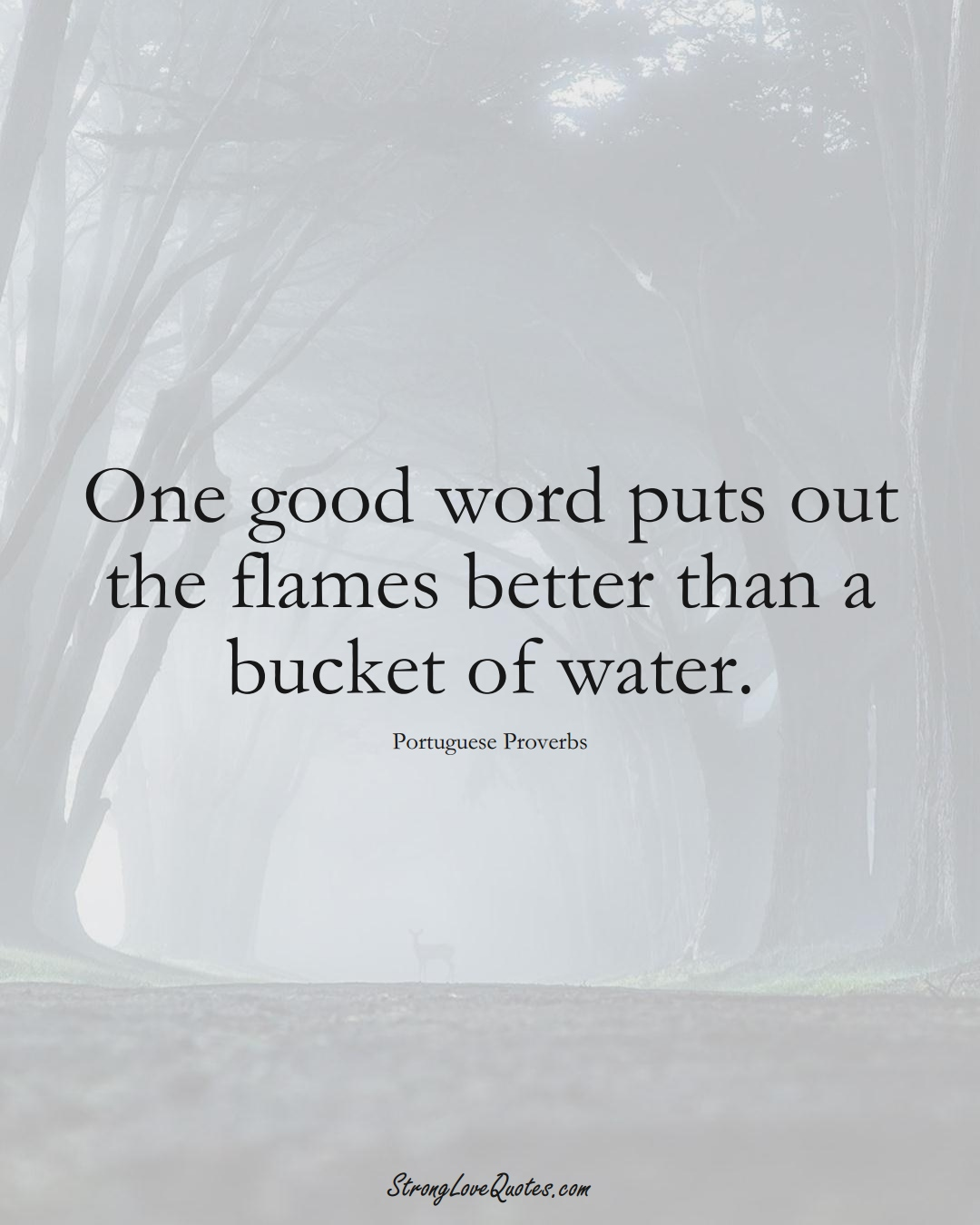 One good word puts out the flames better than a bucket of water. (Portuguese Sayings);  #EuropeanSayings