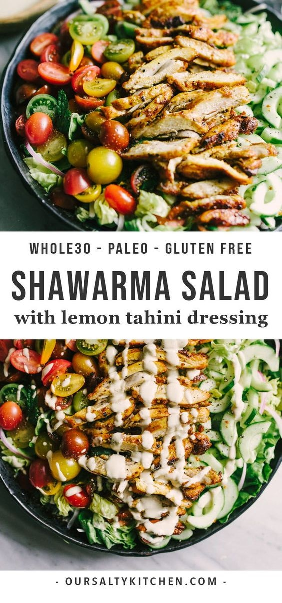 Chicken Shawarma Salad With Tahini Dressing