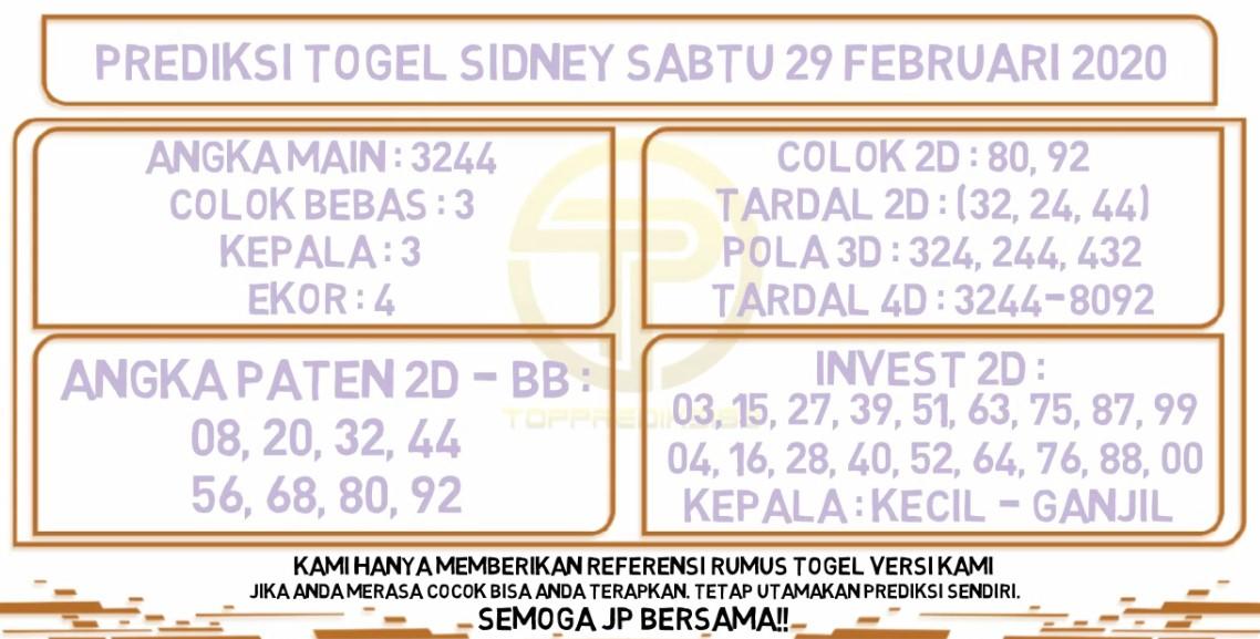 Prediksi Sidney JP 29 Februari 2020 - Prediksi Togel JP