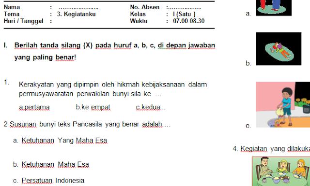 Download Soal PAS/UAS Kelas 1 Semester 1