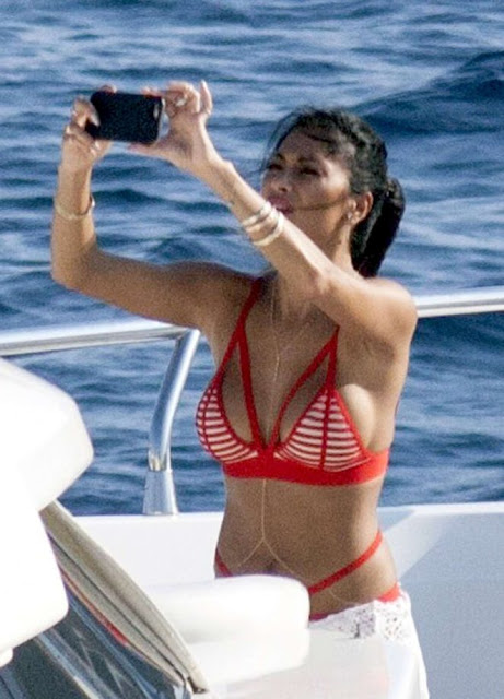 Nicole Scherzinger in Red Bikini on yacht in Mykonos