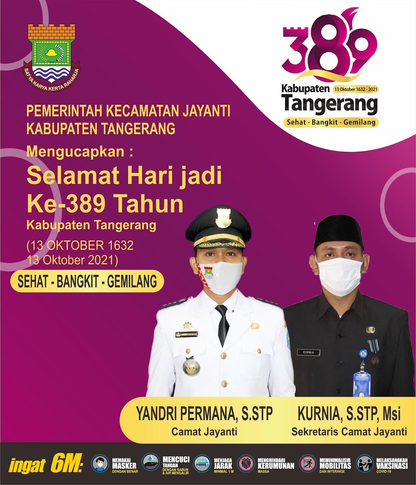 Pemerintah Kecamatan Jayanti Ucapakan Hari jadi Kabupaten Tangerang Ke-389