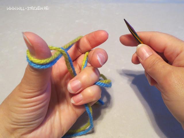 Laufknoten als Anfangsschlinge beim Stricken - Schlinge