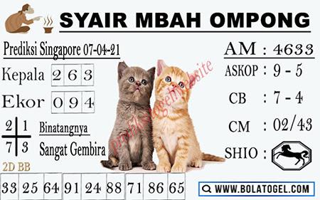 Syair Mbah Ompong SGP Rabu 07-Apr-2021