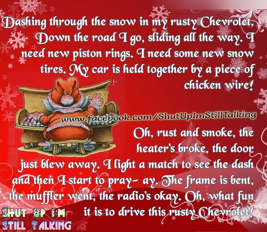 dashing through the snow in my rusty chevrolet christmas song quotes - Minion Christmas Song