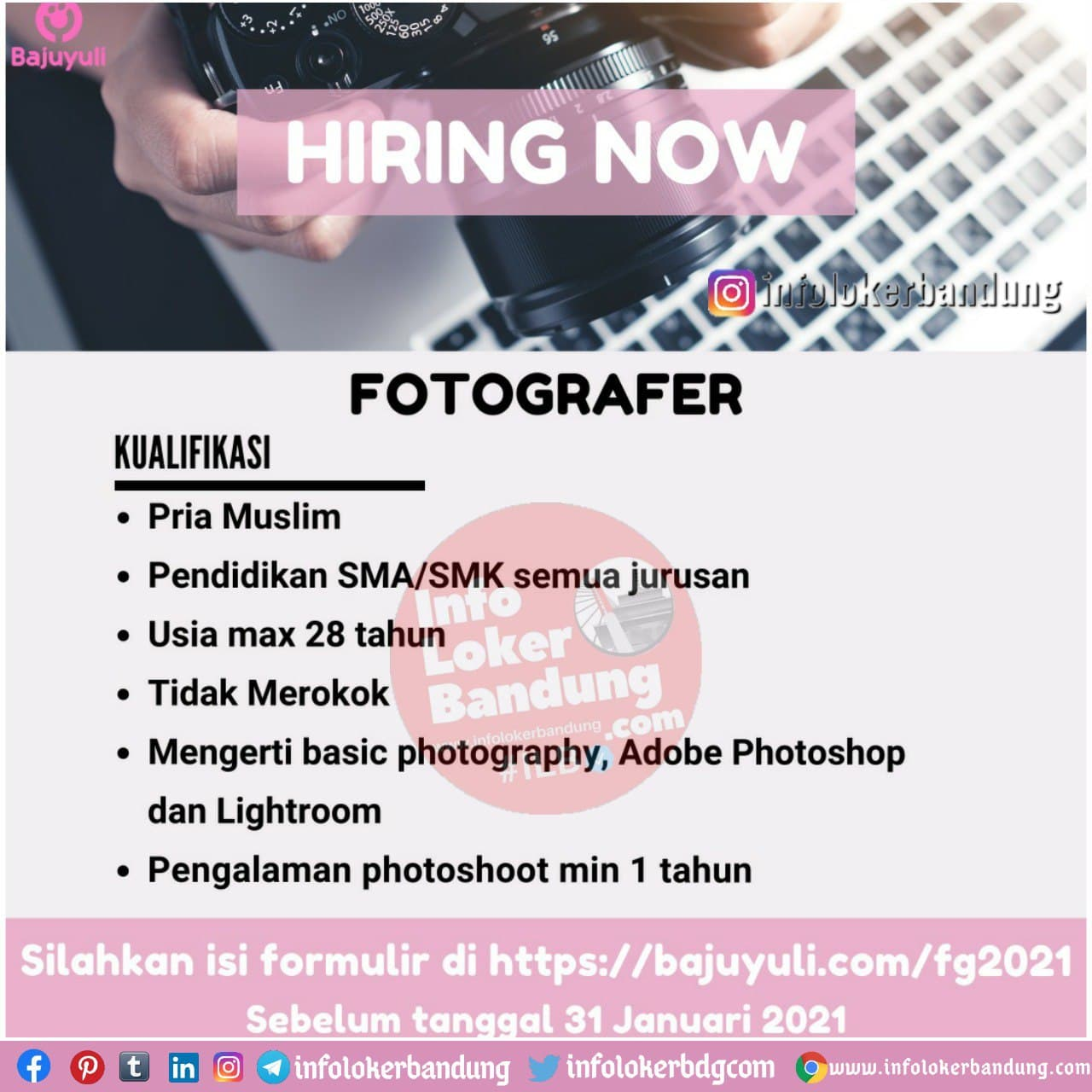 Lowongan Kerja Fotografer Bajuyuli Bandung Desember 2020