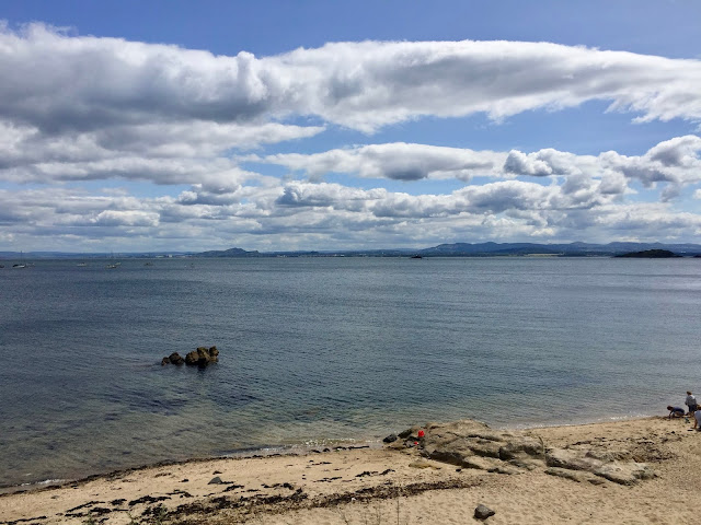 View of Edinburgh & Firth of Forth from Fife Coastal Path, Aberdour